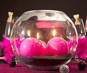 Vase Boule Verre Centre de Table avec Bougies et Sable