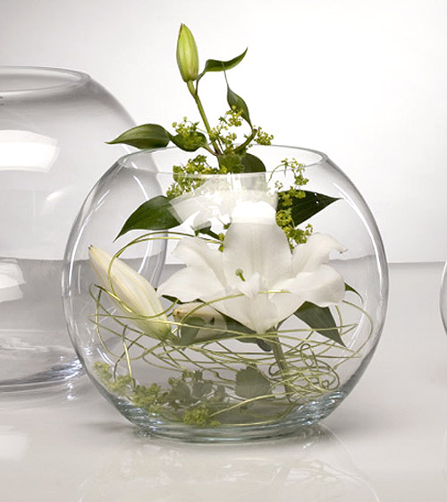 Le vase g ant boule en verre centre de table luxe bougies d coratives - Vase plat centre de table ...