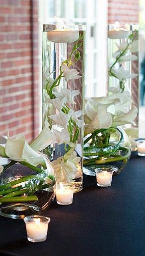 Vase droit bougie flottante fleurs