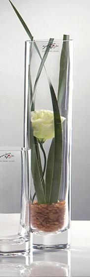Vase Verre Droit Etroit Cylindrique Epais Vases Coupelles Verre