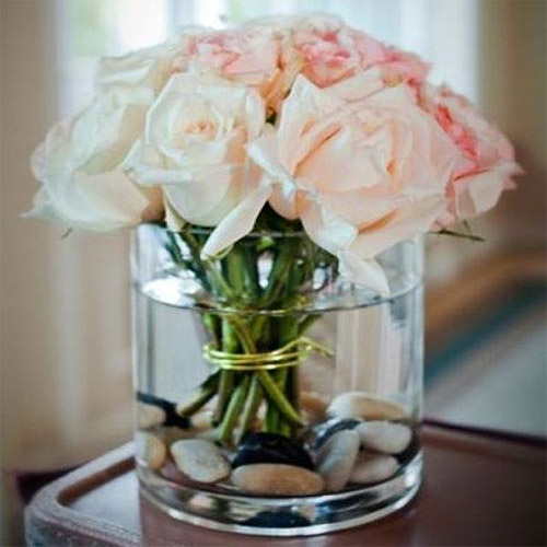 Photophore verre cylindrique large centre de table mariage photophores mariage - Vase plat centre de table ...