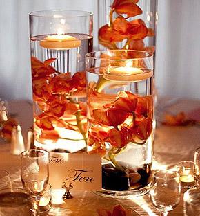 Bougies flottantes Vase verre déco florale orchidées immergées