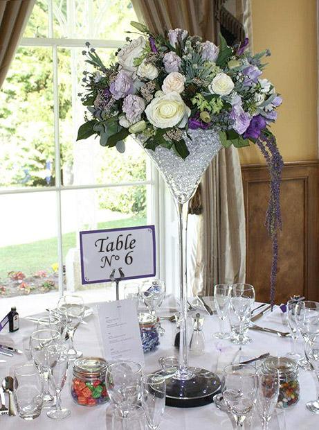 Le photophore vase martini g ant sur tige luxe 40 cm xxl - Coupe en verre sur pied centre de table ...