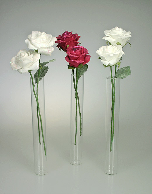 lot de 3 mini vases eprouvettes tube avec 5 roses d coration de table bapteme. Black Bedroom Furniture Sets. Home Design Ideas