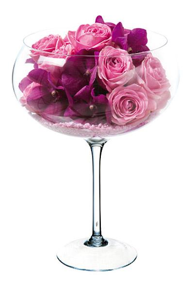 Vase forme verre géant XXL deco florale