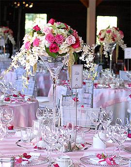 Déco Florale Vase Verre Martini Mariage