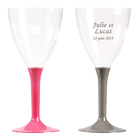 Verres à Vin Jetables Plastique Pied Couleur x10
