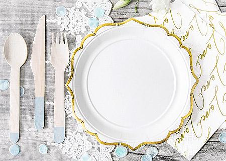 Petites Assiettes Dessert Blanc Doré Pas Cher