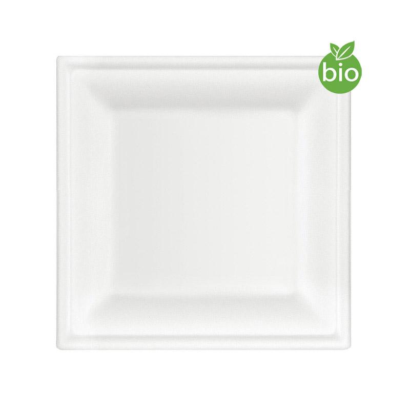 Assiettes Carrées Biodegradables 20cm pas cher