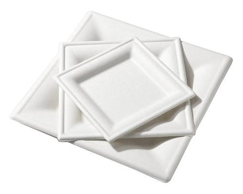 Assiettes Carrées blanches biodegradables