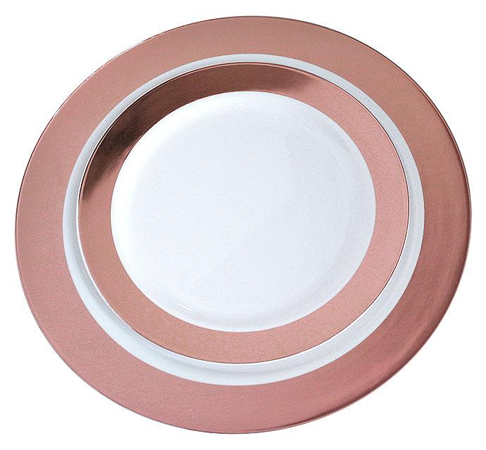Petites Assiettes Lavable Réutilisable Ronde Rose Gold Fetes Vaisselle Jetable Mariage