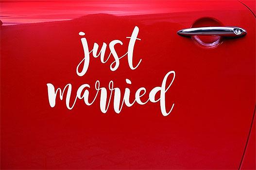 Sticker Electrostatique Transparent Lettre Just Married