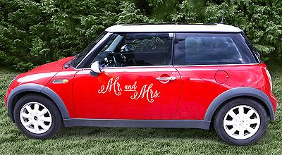 Autocollant Voiture Mariage Mariés Sans Trace