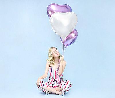 Ballon Aluminium Mylar Coeur Rose et Parme Décoration Pas Cher