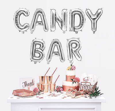Ballon argent candy bar