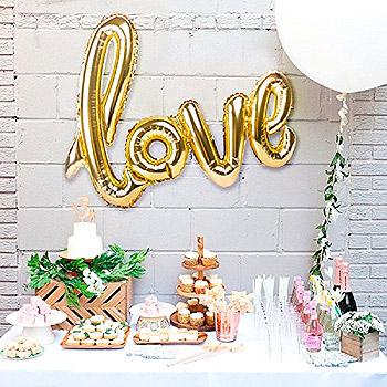 Ballon Lettres Love doré