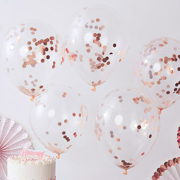 Ballons Transparents avec Confettis Rose Gold