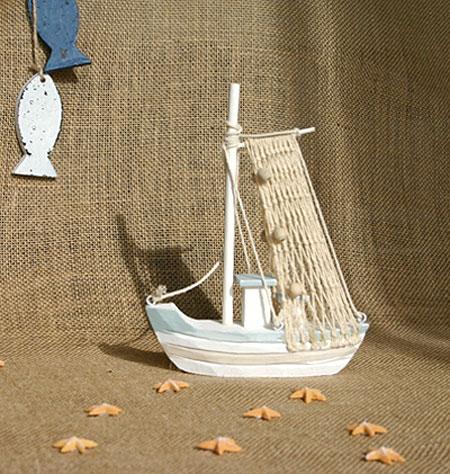 Déco Bateau de pêche filet blanc ciel taupe