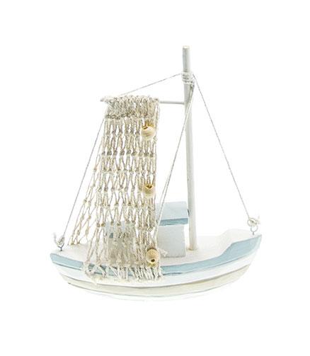 Bateau Déco pêcheur filet blanc ciel taupe