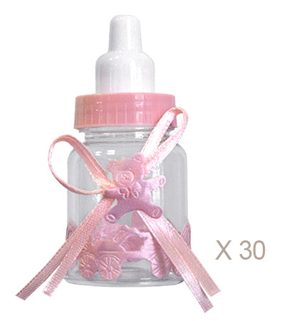 Biberon Dragées Baby Shower Fille Rose
