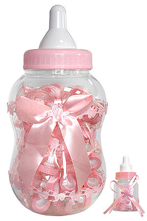 Biberon Géant Tirelire Baby Shower Fille Rose