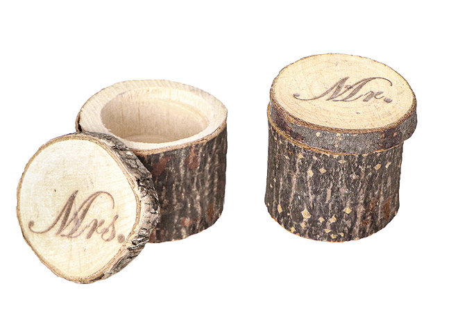 Rondin de Bois Support Alliance Mariage Originale Mr Mrs