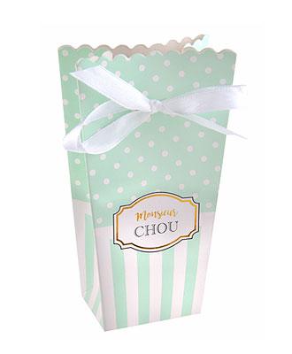 Boite Carton Baby Shower vert à pois