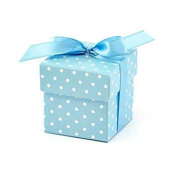 Boites Dragées Pastel Bleu à Pois