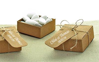 Boites Kraft Contenant avec Ficelle et Etiquettes