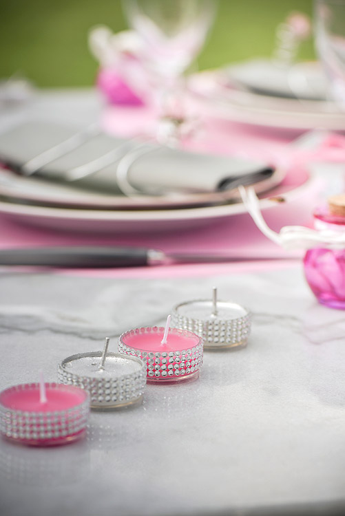 Bougie Chauffe Plat Fuchsia Déco Table Mariage