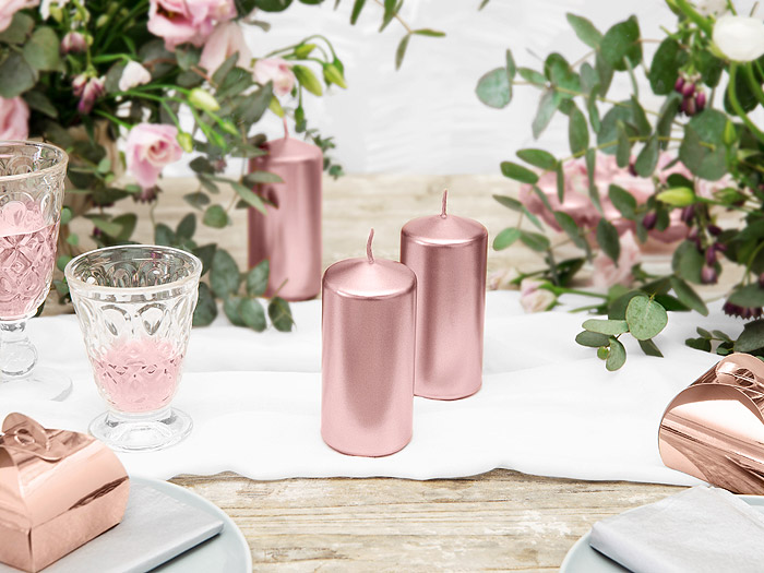 Bougie Cylindrique Rose Gold Mariage 12cm