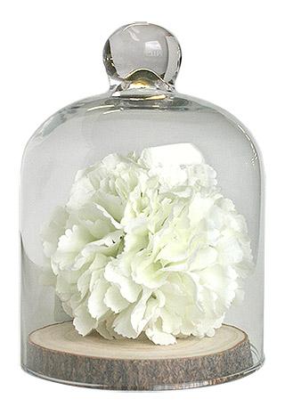 Cloche en Verre avec Boule de Fleurs Blanches