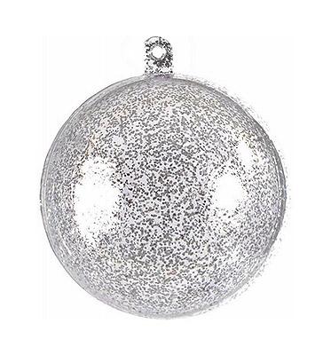 Boule Transparente 5 cm Pailletée Gris Contenant Dragées
