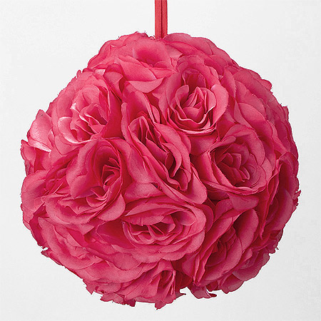 Boule roses artificielles Fuchsia
