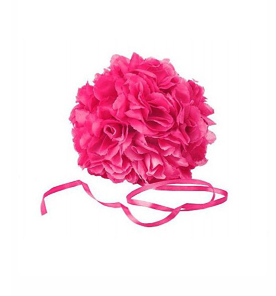 Boule fleurs artificielles fuchsia
