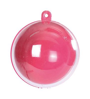 Boule Transparente 5 cm Fuchsia Contenant Dragées