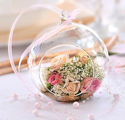 Boule en verre ouverte Décoration Florale Centre de Table