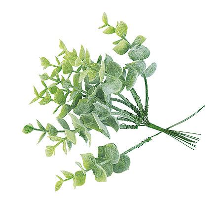 10 petites branches eucalyptus artificelles avec tige 17cm déco de table