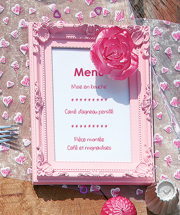 Marque Table Menu Cadre Baroque Moulures Rose Marque Table Mariage