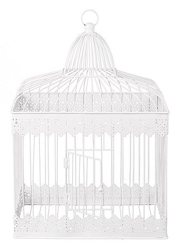 Cage Urne Métal Blanc Vintage
