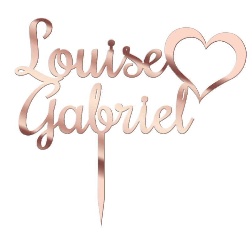 Cake Topper Personnalisé Rose Gold