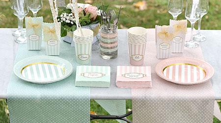Décoration de table sweet rose et vert