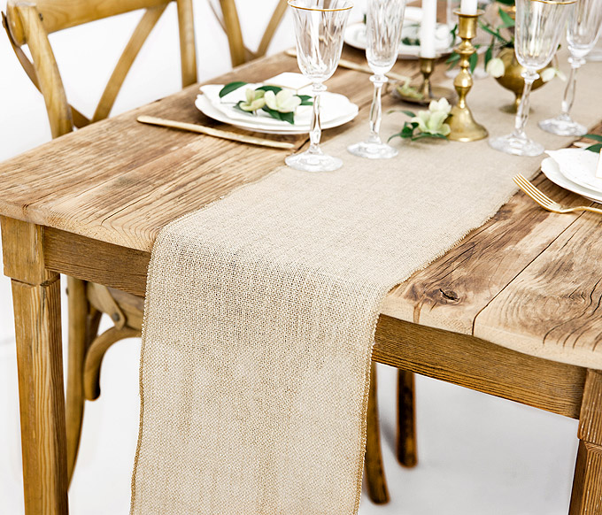 Chemin de Table Jute Nature Mariage Centre Table