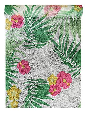 Chemin de Table Tropical Feuillages et Fleurs
