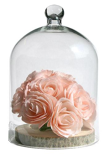 Cloche en verre déco florale
