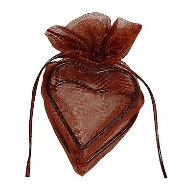Contenant Coeur en Organdi Chocolat Prix Discount