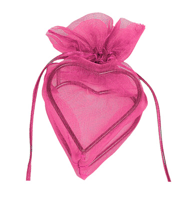 Contenant Coeur en Organdi Fuchsia Prix Discount