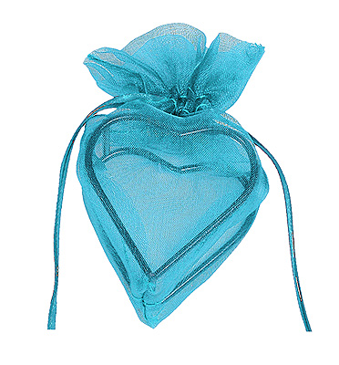 Contenant Coeur en Organdi Turquoise Prix Discount