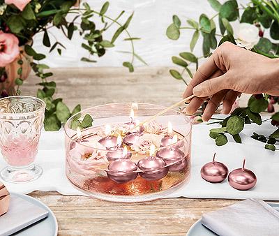 Coupelle en verre avec bougies flottantes rose gold