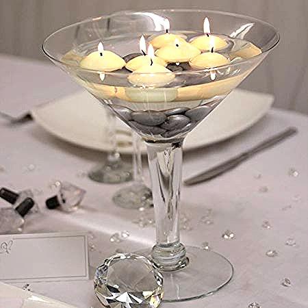Photophore en verre style Martini sur pied Pas Cher